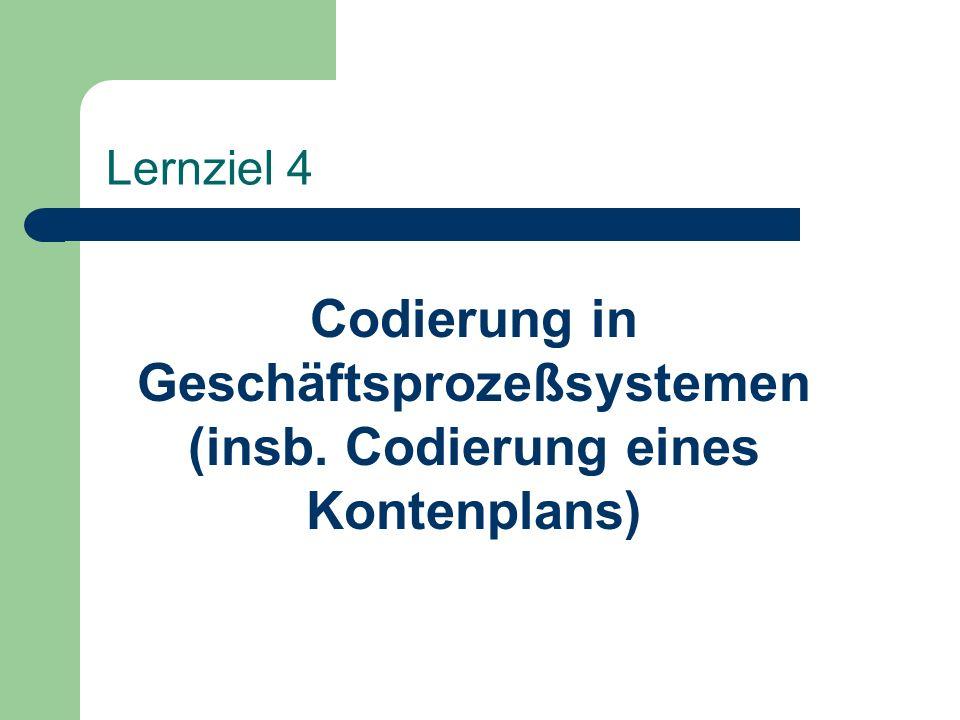 Lernziel 4 Codierung in Geschäftsprozeßsystemen (insb. Codierung eines Kontenplans)