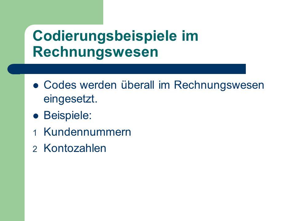 Codierungsbeispiele im Rechnungswesen Codes werden überall im Rechnungswesen eingesetzt. Beispiele: 1 Kundennummern 2 Kontozahlen