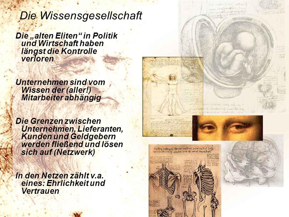 http://www.franzhoermann.com Die Wissensgesellschaft Die alten Eliten in Politik und Wirtschaft haben längst die Kontrolle verloren Unternehmen sind v