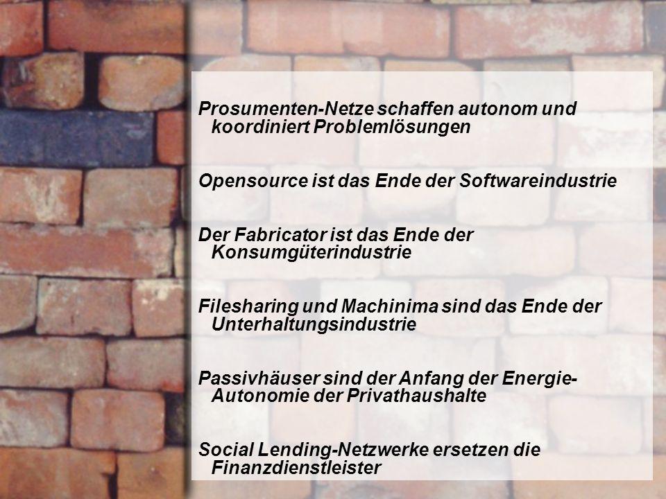 http://www.franzhoermann.com Prosumenten-Netze schaffen autonom und koordiniert Problemlösungen Opensource ist das Ende der Softwareindustrie Der Fabr