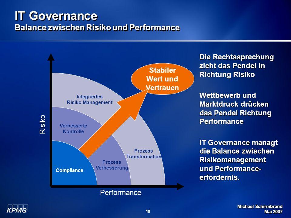 Michael Schirmbrand Mai 2007 10 Stabiler Wert und Vertrauen IT Governance Balance zwischen Risiko und Performance Prozess Verbesserung Verbesserte Kon