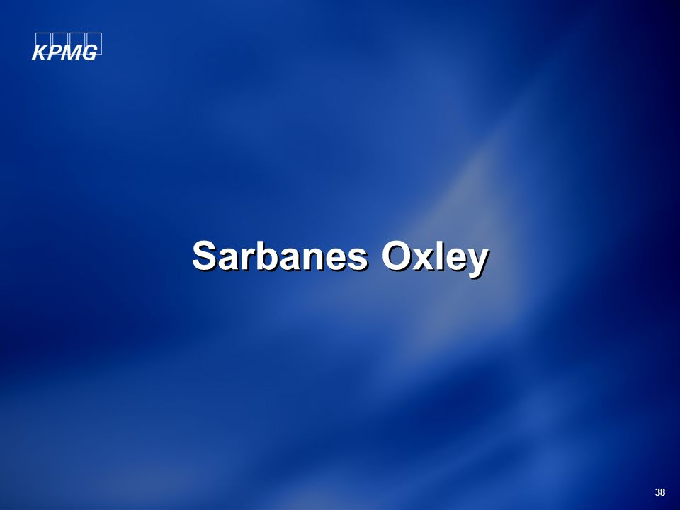 38 Sarbanes Oxley