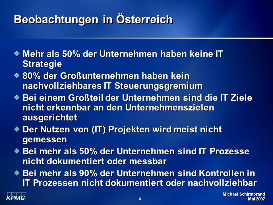 Michael Schirmbrand Mai 2007 65 Vom Ziel zur Architektur Unternehmensziele für IT IT Ziele Unternehmens- architektur für IT bestimmen messen bestimmen IT Scorecard Unternehmens- und Governance- Erfordernisse