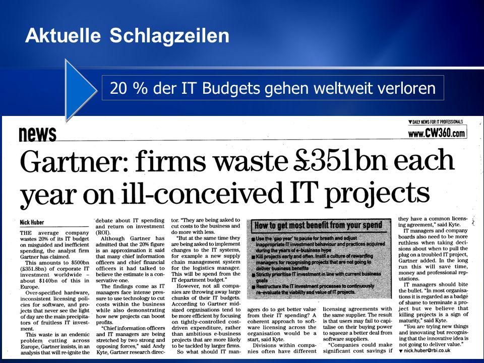 Michael Schirmbrand Mai 2007 5 20 % der IT Budgets gehen weltweit verloren Aktuelle Schlagzeilen