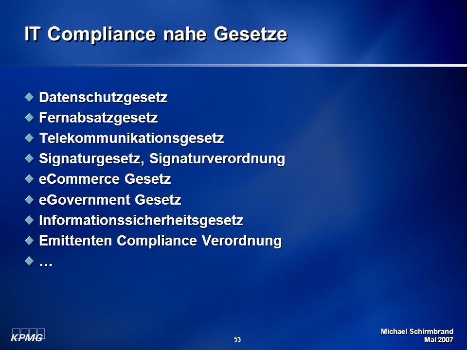 Michael Schirmbrand Mai 2007 53 IT Compliance nahe Gesetze DatenschutzgesetzFernabsatzgesetzTelekommunikationsgesetz Signaturgesetz, Signaturverordnun