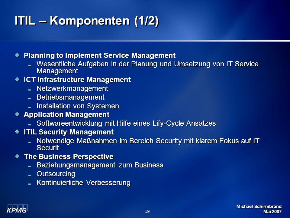 Michael Schirmbrand Mai 2007 59 ITIL – Komponenten (1/2) Planning to Implement Service Management Wesentliche Aufgaben in der Planung und Umsetzung vo