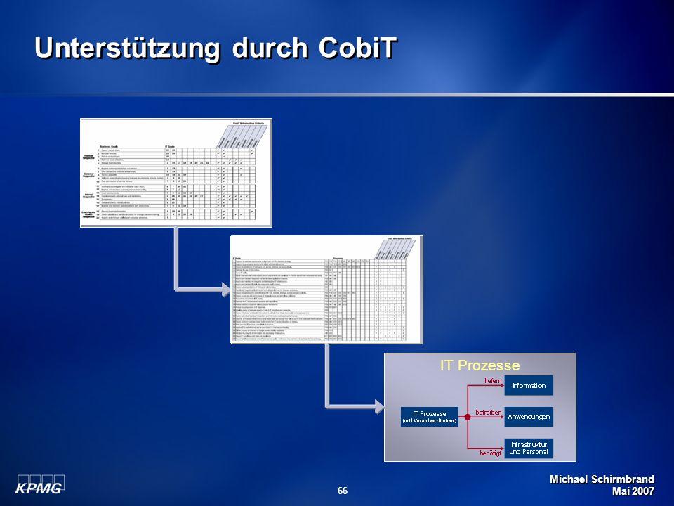 Michael Schirmbrand Mai 2007 66 Unternehmensziele für IT IT Ziele IT Prozesse Unterstützung durch CobiT