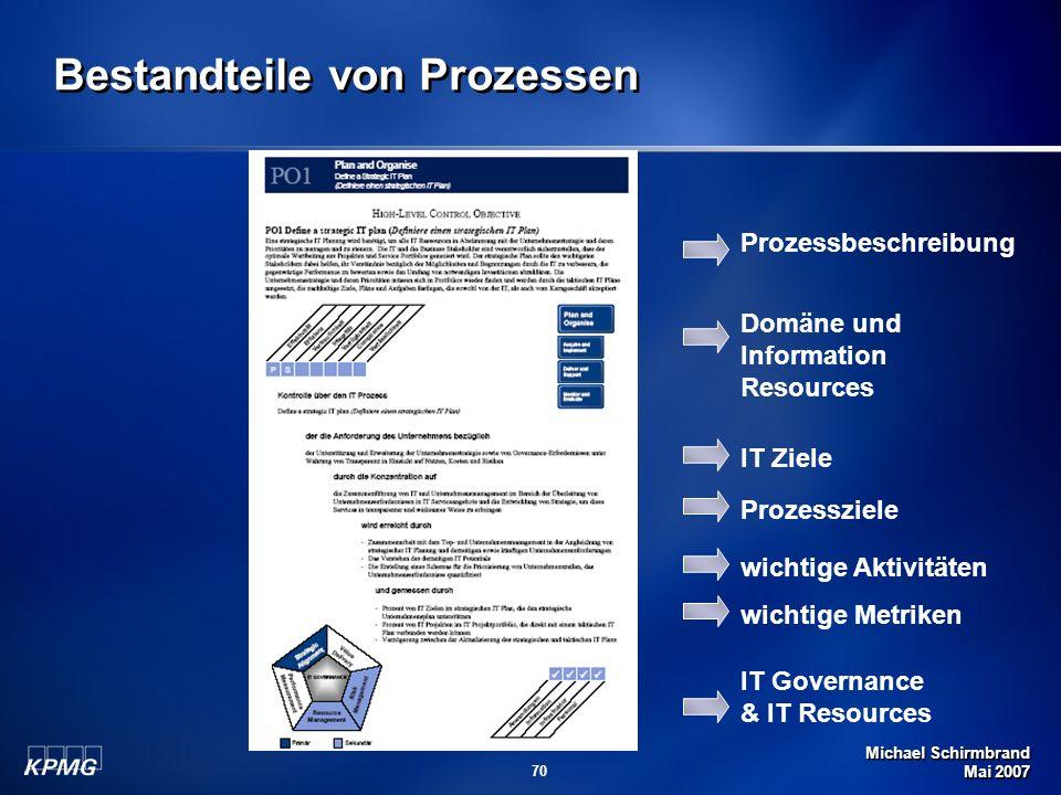 Michael Schirmbrand Mai 2007 70 Bestandteile von Prozessen Prozessbeschreibung Domäne und Information Resources IT Ziele Prozessziele wichtige Aktivit