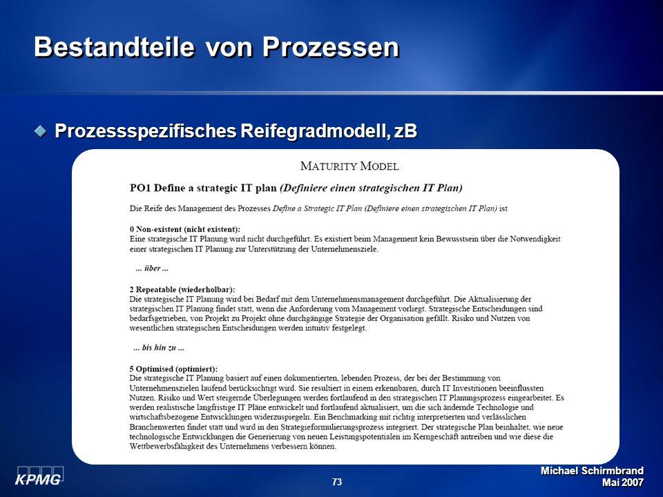 Michael Schirmbrand Mai 2007 73 Bestandteile von Prozessen Prozessspezifisches Reifegradmodell, zB
