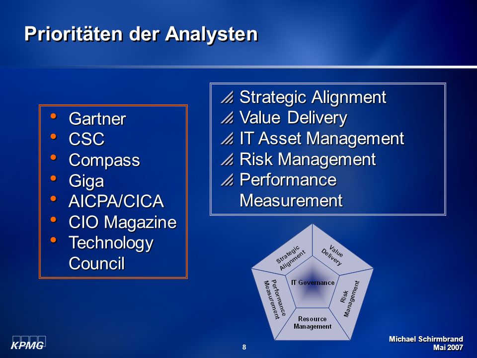 Michael Schirmbrand Mai 2007 89 Forrester Quotes (Jan 5 2006) Establish frameworks to ease Governance Implementation First CobiT for overall governance Then ITIL for service delivery and management Then ISO 17799 for information security Balanced Scorecard for measurement and communication Source: Forrester Helping Business Thrive On Technology Change A Road Map To Comprehensive IT Governance by Craig Symons
