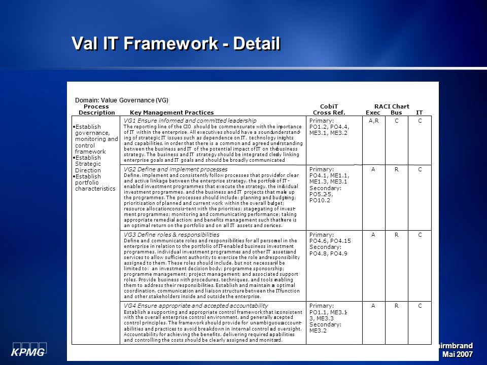 Michael Schirmbrand Mai 2007 83 Val IT Framework - Detail Domain: Value Governance (VG) ProcessCobiTRACI Chart DescriptionKey Management PracticesCros