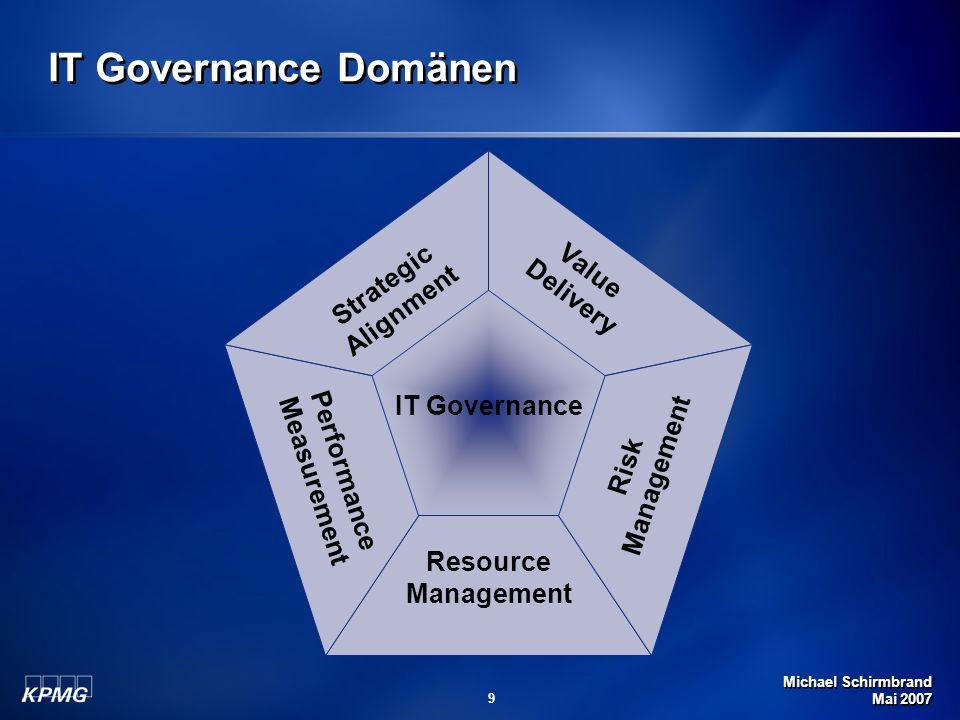 Michael Schirmbrand Mai 2007 9 IT Governance Domänen Strategic Alignment Value Delivery Risk Management Resource Management Performance Measurement IT Governance