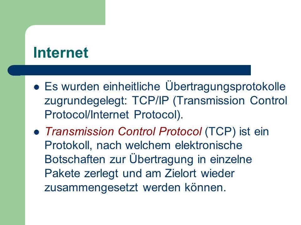 Internet Es wurden einheitliche Übertragungsprotokolle zugrundegelegt: TCP/IP (Transmission Control Protocol/Internet Protocol). Transmission Control