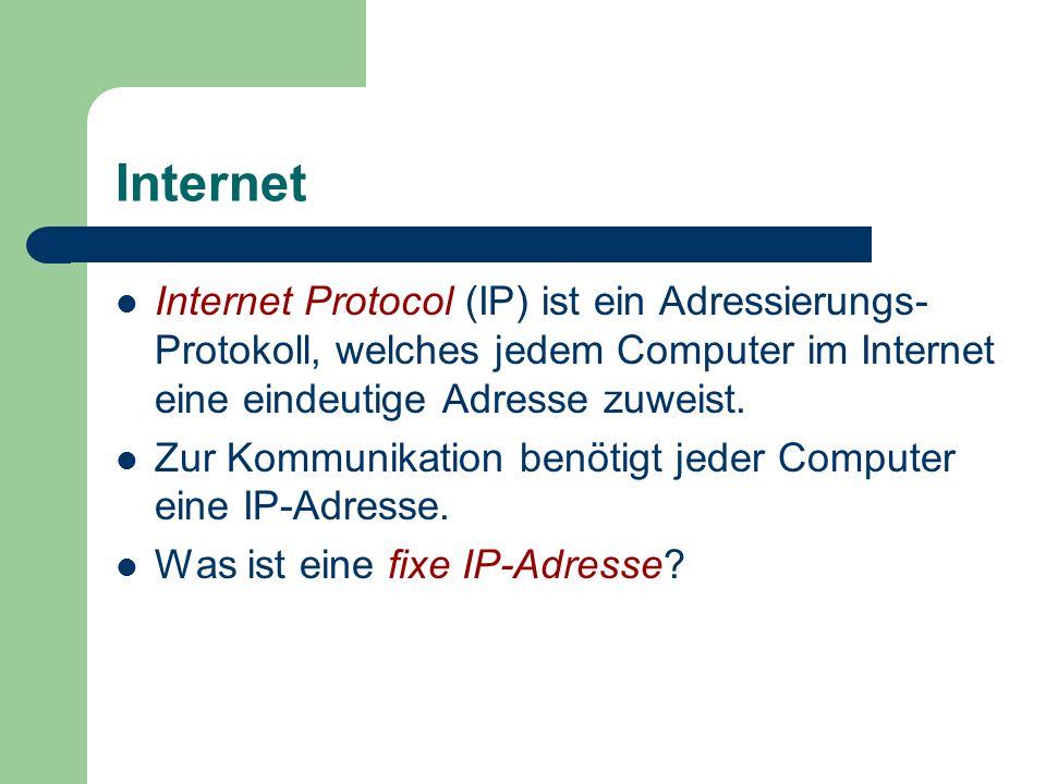 Internet Internet Protocol (IP) ist ein Adressierungs- Protokoll, welches jedem Computer im Internet eine eindeutige Adresse zuweist. Zur Kommunikatio