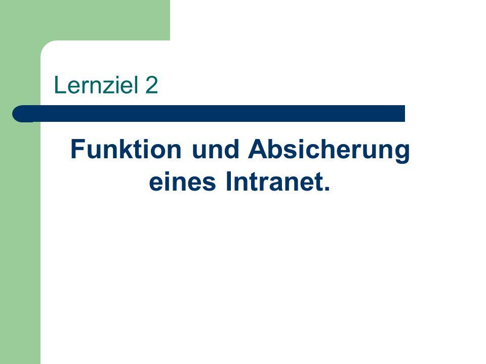 Lernziel 2 Funktion und Absicherung eines Intranet.
