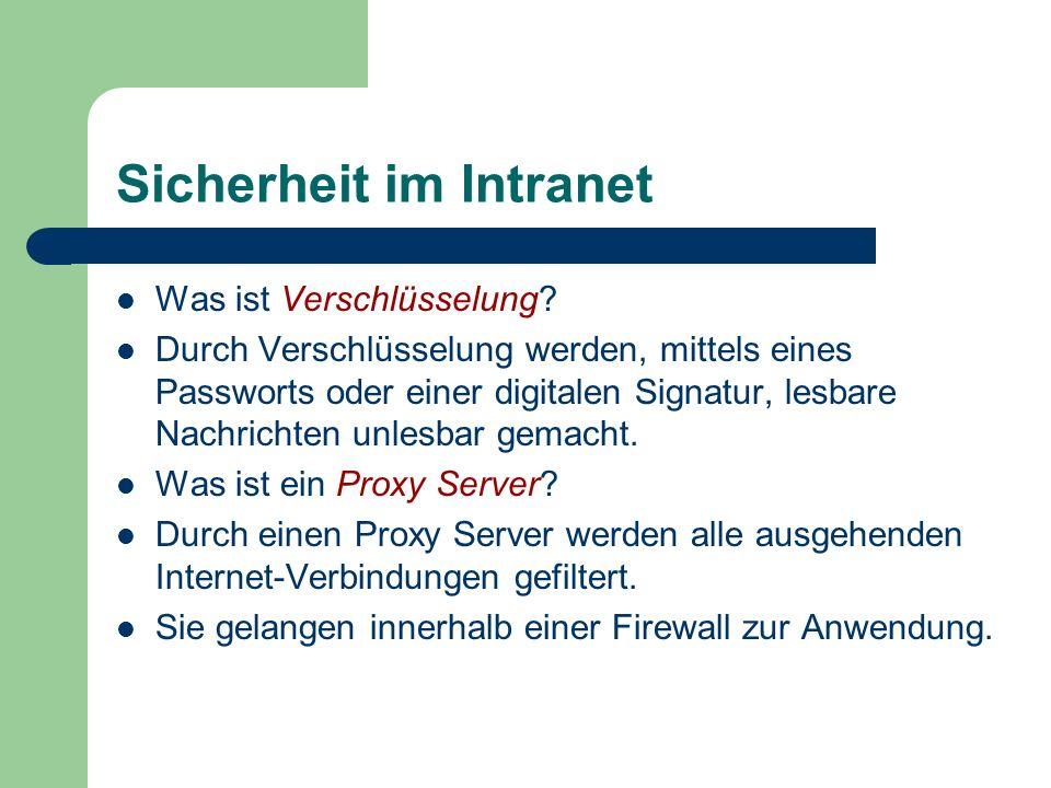 Sicherheit im Intranet Was ist Verschlüsselung? Durch Verschlüsselung werden, mittels eines Passworts oder einer digitalen Signatur, lesbare Nachricht