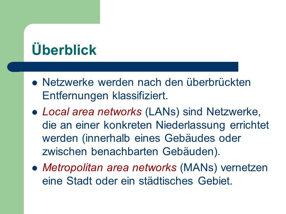 Überblick Netzwerke werden nach den überbrückten Entfernungen klassifiziert. Local area networks (LANs) sind Netzwerke, die an einer konkreten Niederl