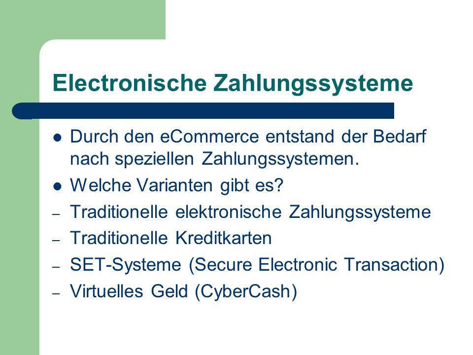 Electronische Zahlungssysteme Durch den eCommerce entstand der Bedarf nach speziellen Zahlungssystemen. Welche Varianten gibt es? – Traditionelle elek