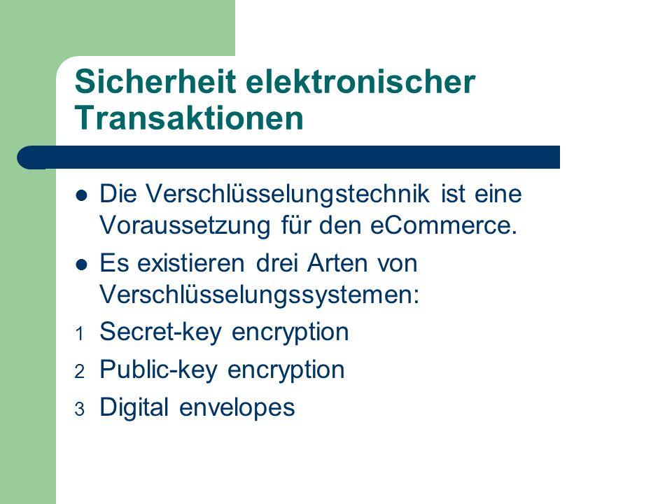 Sicherheit elektronischer Transaktionen Die Verschlüsselungstechnik ist eine Voraussetzung für den eCommerce. Es existieren drei Arten von Verschlüsse