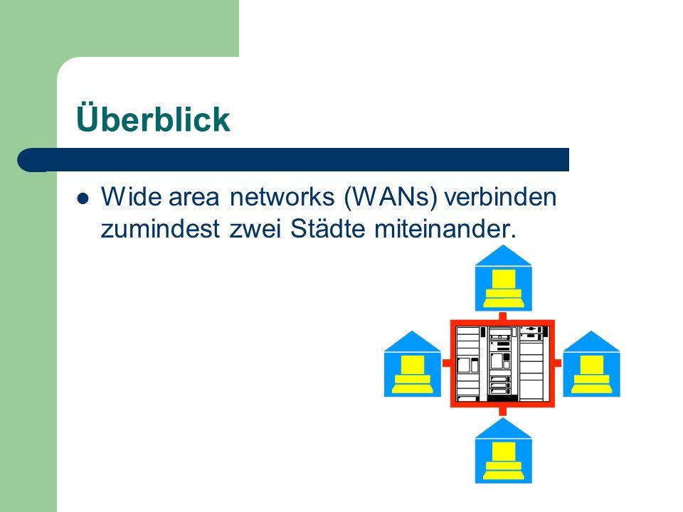 Überblick Wide area networks (WANs) verbinden zumindest zwei Städte miteinander.