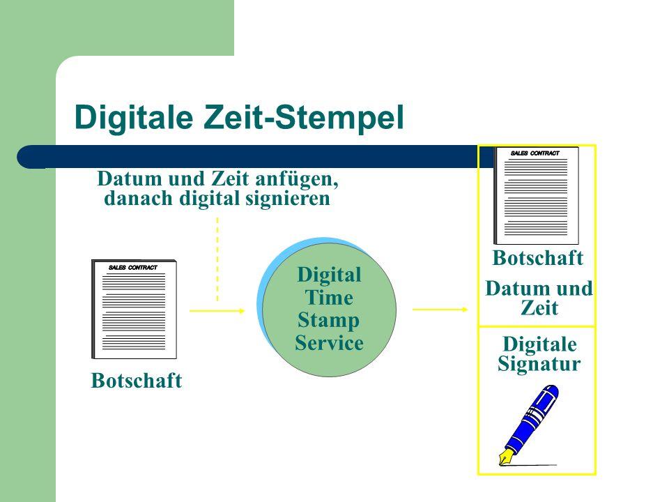 Digitale Zeit-Stempel Digital Time Stamp Service Botschaft Datum und Zeit Digitale Signatur Datum und Zeit anfügen, danach digital signieren