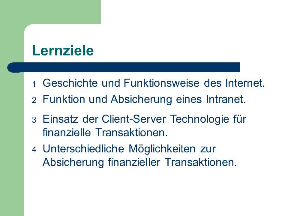Lernziele 1 Geschichte und Funktionsweise des Internet. 2 Funktion und Absicherung eines Intranet. 3 Einsatz der Client-Server Technologie für finanzi