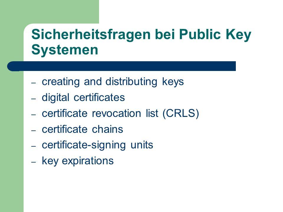 Sicherheitsfragen bei Public Key Systemen – creating and distributing keys – digital certificates – certificate revocation list (CRLS) – certificate c