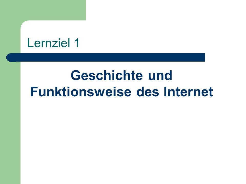 Lernziel 1 Geschichte und Funktionsweise des Internet