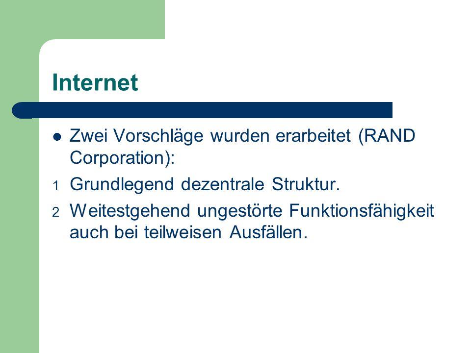 Internet Zwei Vorschläge wurden erarbeitet (RAND Corporation): 1 Grundlegend dezentrale Struktur. 2 Weitestgehend ungestörte Funktionsfähigkeit auch b