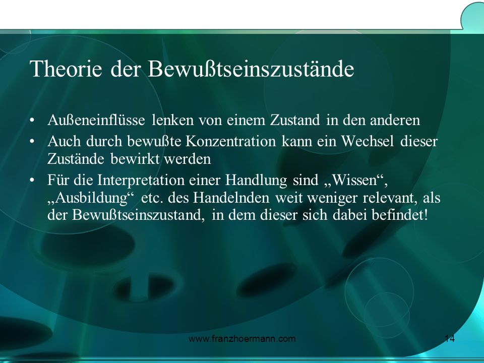 www.franzhoermann.com14 Theorie der Bewußtseinszustände Außeneinflüsse lenken von einem Zustand in den anderen Auch durch bewußte Konzentration kann e