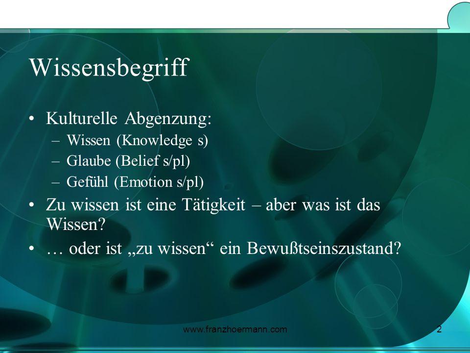 www.franzhoermann.com2 Wissensbegriff Kulturelle Abgenzung: –Wissen (Knowledge s) –Glaube (Belief s/pl) –Gefühl (Emotion s/pl) Zu wissen ist eine Täti