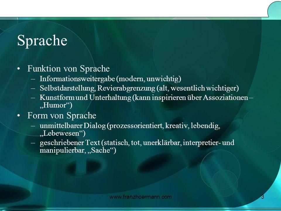 www.franzhoermann.com3 Sprache Funktion von Sprache –Informationsweitergabe (modern, unwichtig) –Selbstdarstellung, Revierabgrenzung (alt, wesentlich