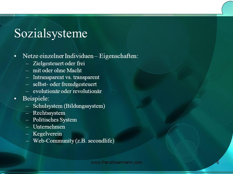 www.franzhoermann.com6 Sozialsysteme Netze einzelner Individuen – Eigenschaften: –Zielgesteuert oder frei –mit oder ohne Macht –Intransparent vs. tran