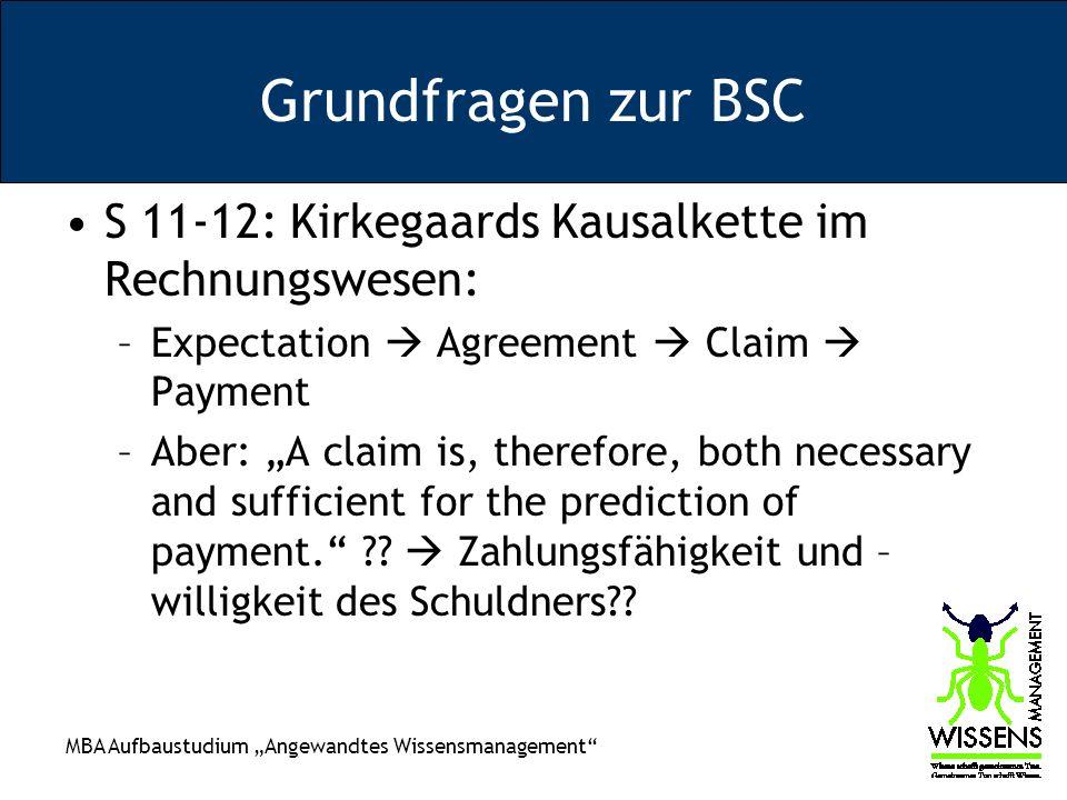 MBA Aufbaustudium Angewandtes Wissensmanagement Grundfragen zur BSC S 11-12: Kirkegaards Kausalkette im Rechnungswesen: –Expectation Agreement Claim P
