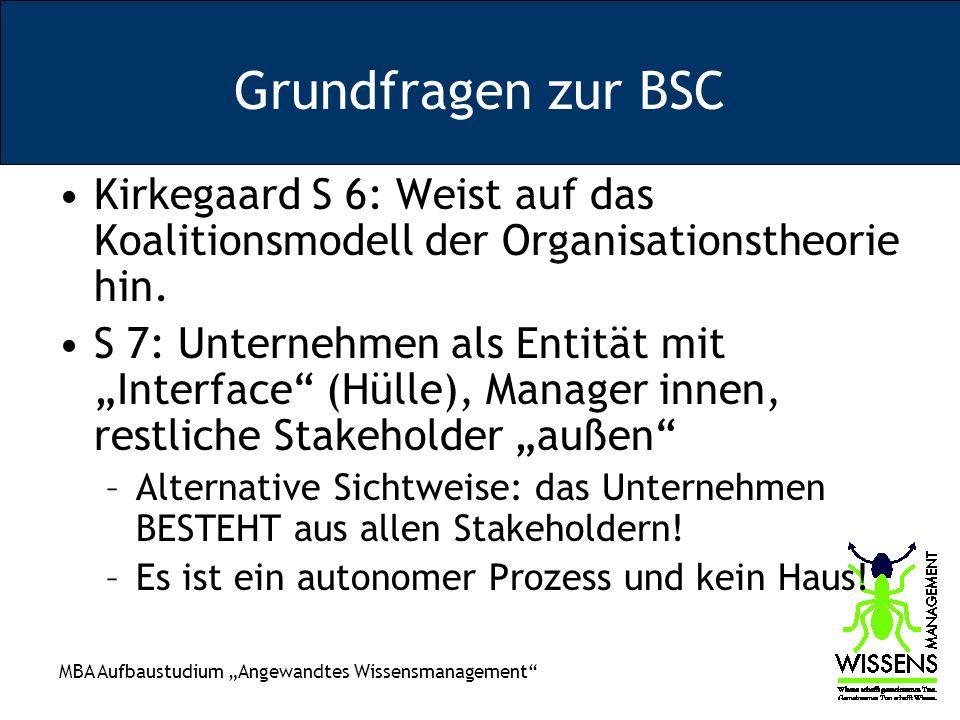 MBA Aufbaustudium Angewandtes Wissensmanagement Grundfragen zur BSC Kirkegaard S 6: Weist auf das Koalitionsmodell der Organisationstheorie hin. S 7: