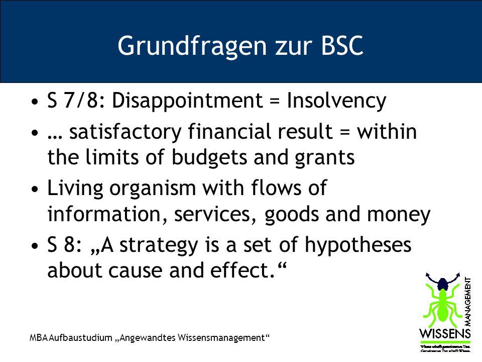 MBA Aufbaustudium Angewandtes Wissensmanagement Grundfragen zur BSC S 7/8: Disappointment = Insolvency … satisfactory financial result = within the li