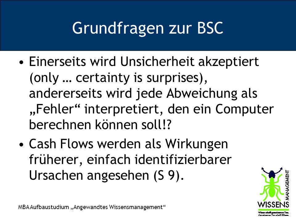 MBA Aufbaustudium Angewandtes Wissensmanagement Grundfragen zur BSC Einerseits wird Unsicherheit akzeptiert (only … certainty is surprises), andererseits wird jede Abweichung als Fehler interpretiert, den ein Computer berechnen können soll!.