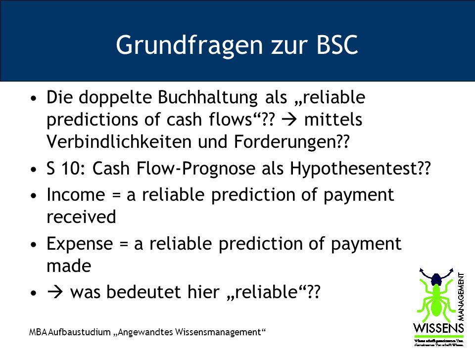 MBA Aufbaustudium Angewandtes Wissensmanagement Grundfragen zur BSC Die doppelte Buchhaltung als reliable predictions of cash flows?? mittels Verbindl