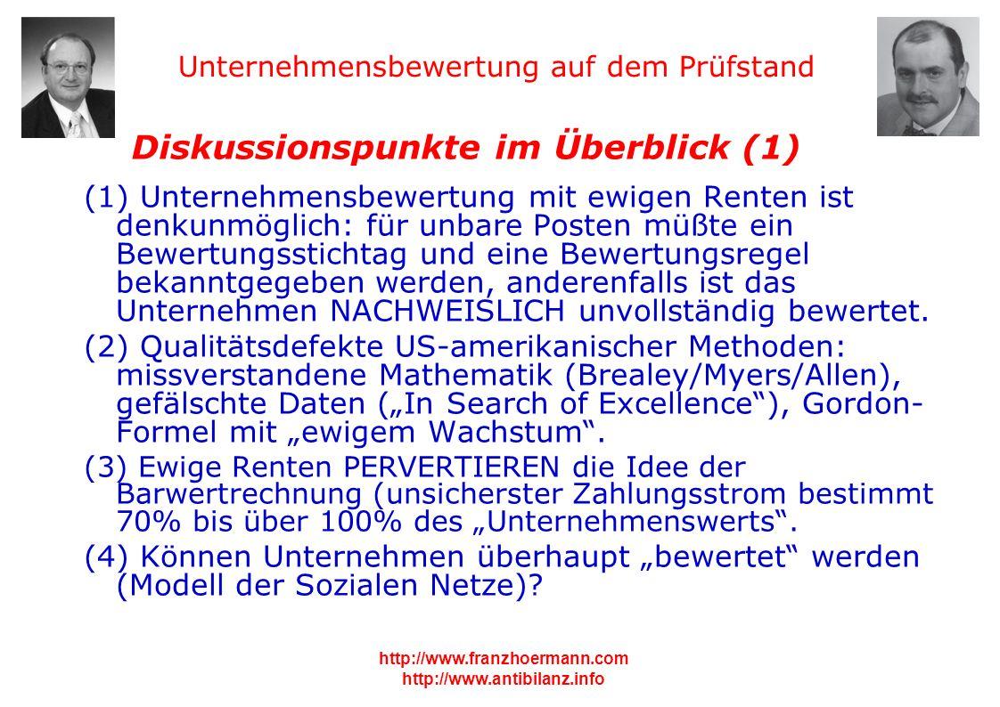 Unternehmensbewertung auf dem Prüfstand http://www.franzhoermann.com http://www.antibilanz.info 1 Diskussionspunkte im Überblick (1) (1) Unternehmensb