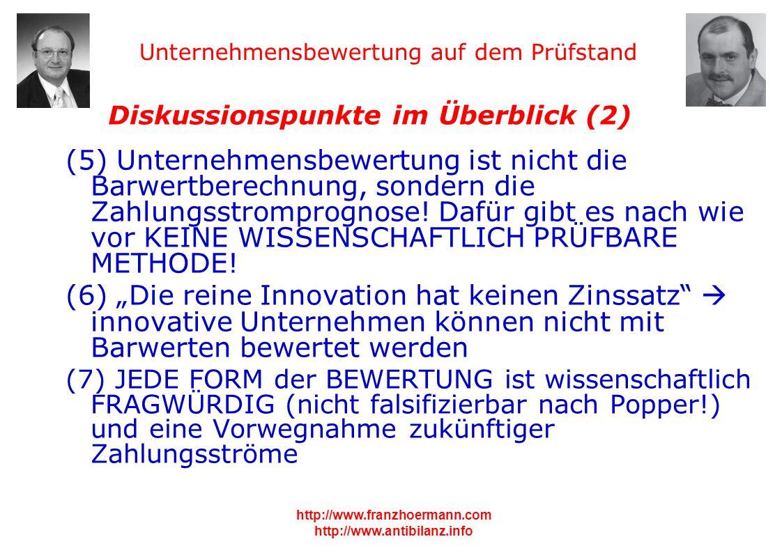 Unternehmensbewertung auf dem Prüfstand http://www.franzhoermann.com http://www.antibilanz.info 2 Diskussionspunkte im Überblick (2) (5) Unternehmensb