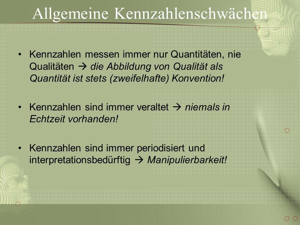 Allgemeine Kennzahlenschwächen Ohne vorhergehende Zielsetzung können keine Kennzahlen entwickelt werden Kennzahlen sind MITTEL aber KEINE ZIELE (ZWECKE).