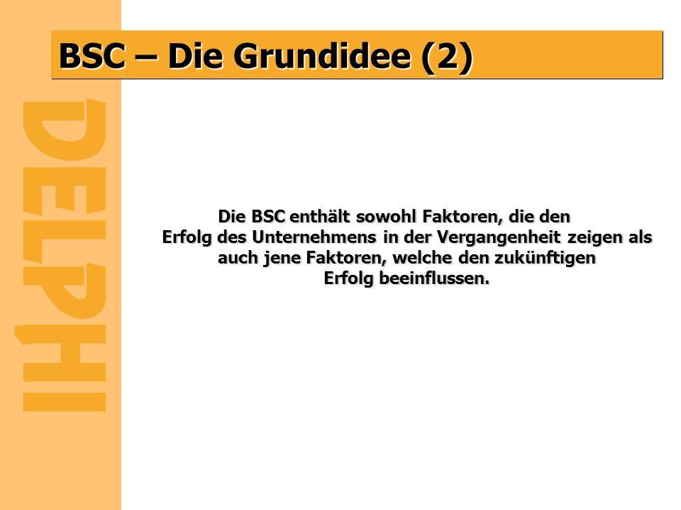 BSC – Die Grundidee (2) Die BSC enthält sowohl Faktoren, die den Erfolg des Unternehmens in der Vergangenheit zeigen als auch jene Faktoren, welche de