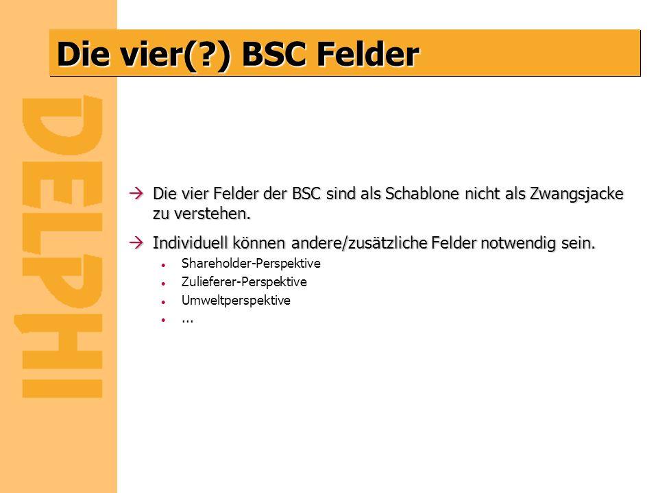 Die vier(?) BSC Felder àDie vier Felder der BSC sind als Schablone nicht als Zwangsjacke zu verstehen. àIndividuell können andere/zusätzliche Felder n