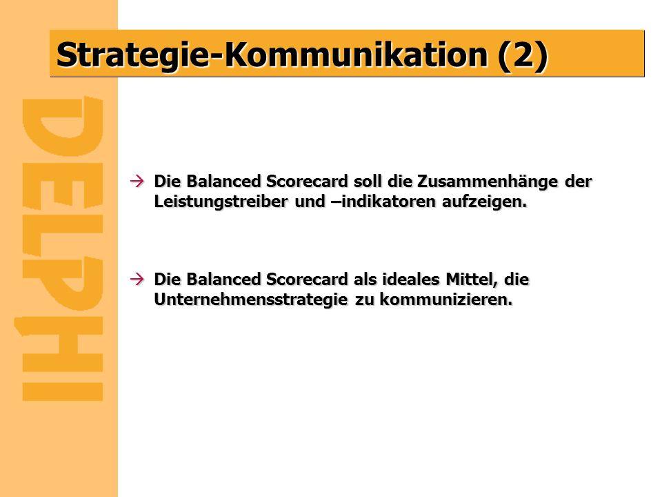 Strategie-Kommunikation (2) àDie Balanced Scorecard soll die Zusammenhänge der Leistungstreiber und –indikatoren aufzeigen. àDie Balanced Scorecard al