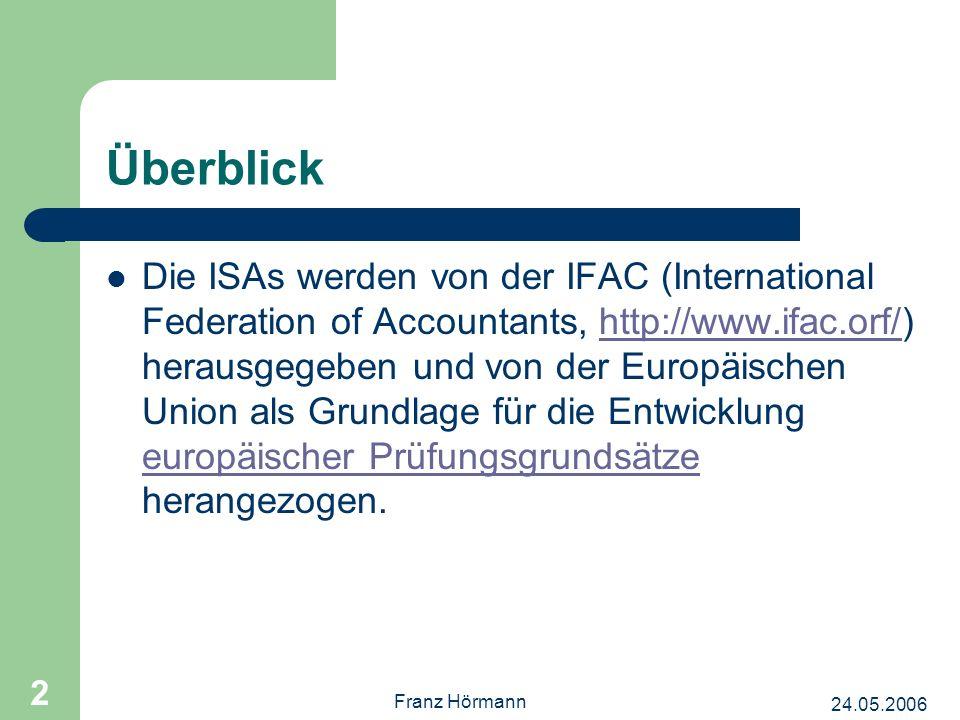24.05.2006 Franz Hörmann 2 Überblick Die ISAs werden von der IFAC (International Federation of Accountants, http://www.ifac.orf/) herausgegeben und von der Europäischen Union als Grundlage für die Entwicklung europäischer Prüfungsgrundsätze herangezogen.http://www.ifac.orf/ europäischer Prüfungsgrundsätze