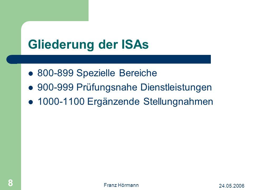 24.05.2006 Franz Hörmann 8 Gliederung der ISAs 800-899 Spezielle Bereiche 900-999 Prüfungsnahe Dienstleistungen 1000-1100 Ergänzende Stellungnahmen
