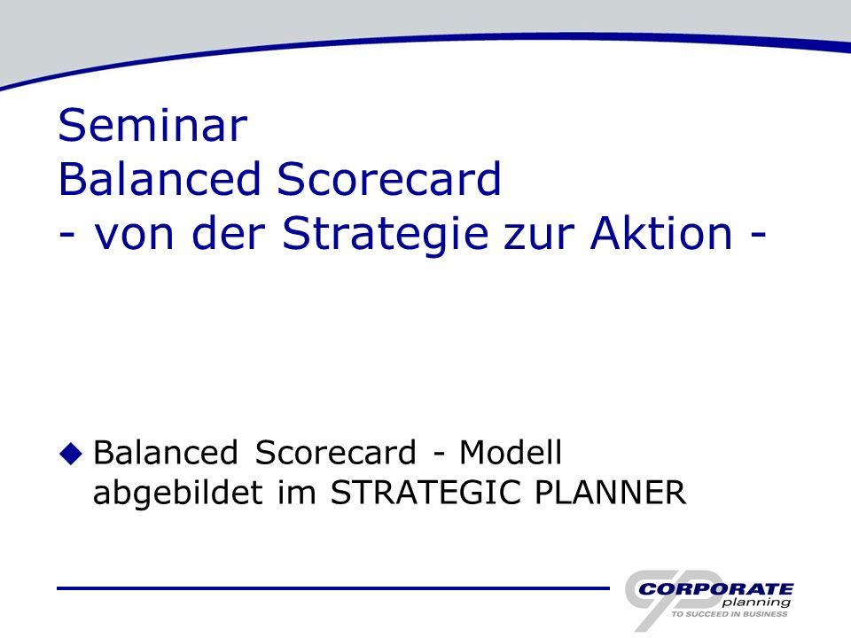 Seminar Balanced Scorecard - von der Strategie zur Aktion - u Balanced Scorecard - Modell abgebildet im STRATEGIC PLANNER