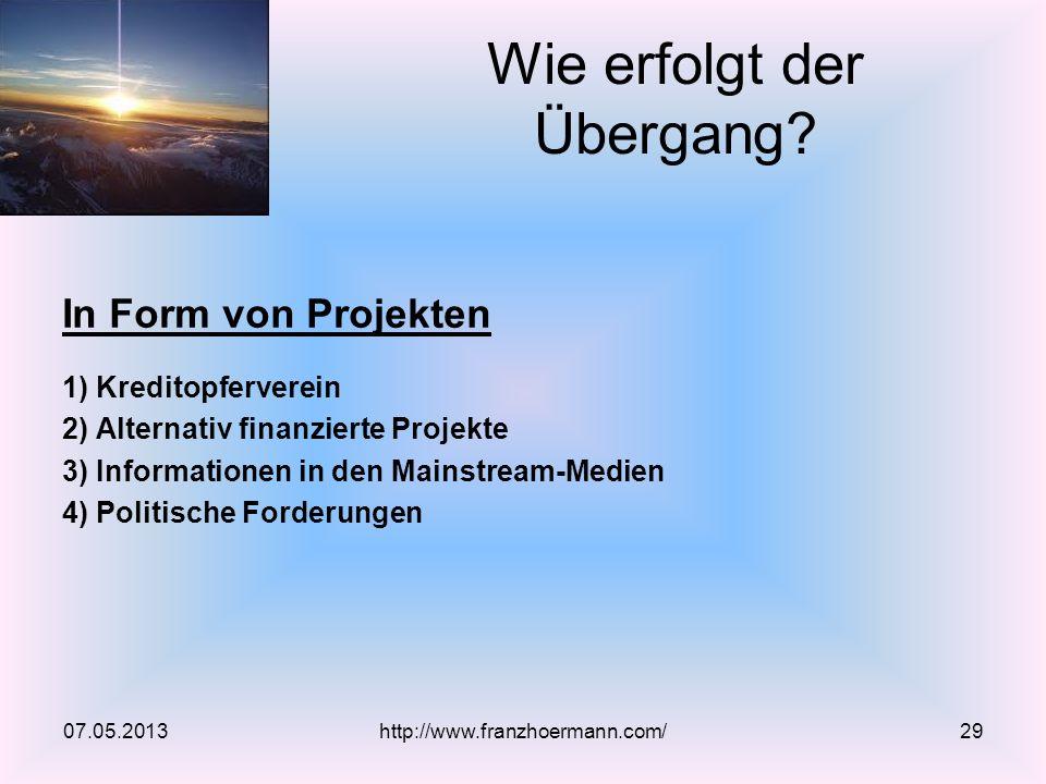 In Form von Projekten 1) Kreditopferverein 2) Alternativ finanzierte Projekte 3) Informationen in den Mainstream-Medien 4) Politische Forderungen Wie erfolgt der Übergang.