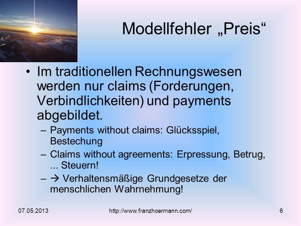07.05.2013 Modellfehler Preis http://www.franzhoermann.com/6 Im traditionellen Rechnungswesen werden nur claims (Forderungen, Verbindlichkeiten) und payments abgebildet.