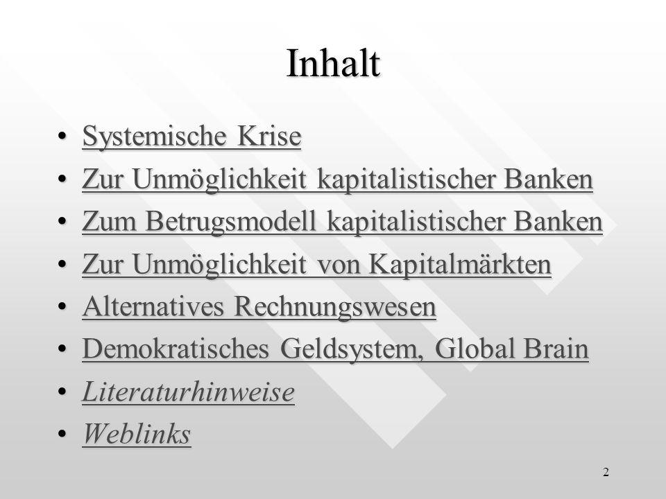 2 Inhalt Systemische KriseSystemische KriseSystemische KriseSystemische Krise Zur Unmöglichkeit kapitalistischer BankenZur Unmöglichkeit kapitalistisc